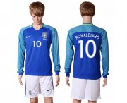 Wholesale Cheap Brazil #10 Ronaldinho Away Long Sleeves Soccer Country Jersey