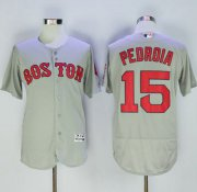 Wholesale Cheap Red Sox #15 Dustin Pedroia Grey Flexbase Authentic Collection Name On Back Stitched MLB Jersey