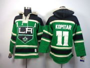Wholesale Cheap Kings #11 Anze Kopitar Green St. Patrick's Day McNary Lace Hoodie Stitched NHL Jersey