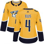 Wholesale Cheap Adidas Predators #4 Ryan Ellis Yellow Home Authentic Women's Stitched NHL Jersey
