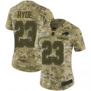 Wholesale Cheap Nike Bills #23 Micah Hyde Camo Women's Stitched NFL Limited 2018 Salute to Service Jersey