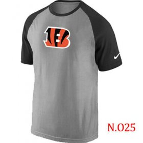 Wholesale Cheap Nike Cincinnati Bengals Ash Tri Big Play Raglan NFL T-Shirt Grey/Black