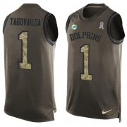 Wholesale Cheap Nike Dolphins #1 Tua Tagovailoa Green Men's Stitched NFL Limited Salute To Service Tank Top Jersey