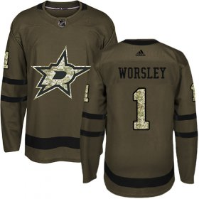 Wholesale Cheap Adidas Stars #1 Gump Worsley Green Salute to Service Stitched NHL Jersey