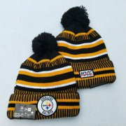 Wholesale Cheap Steelers Team Logo Yellow 100th Season Pom Knit Hat YD
