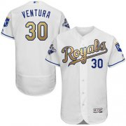 Wholesale Cheap Royals #30 Yordano Ventura White 2015 World Series Champions Gold Program FlexBase Authentic Stitched MLB Jersey