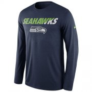 Wholesale Cheap Men's Seattle Seahawks Nike Navy Legend Staff Practice Long Sleeves Performance T-Shirt