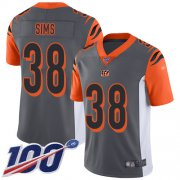 Wholesale Cheap Nike Bengals #38 LeShaun Sims Silver Youth Stitched NFL Limited Inverted Legend 100th Season Jersey