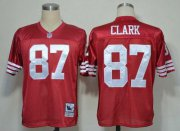 Wholesale Cheap Mitchell And Ness 49ers #87 Dwight Clark Red Stitched Throwback NFL Jersey