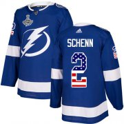 Cheap Adidas Lightning #2 Luke Schenn Blue Home Authentic USA Flag 2020 Stanley Cup Champions Stitched NHL Jersey