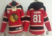 Wholesale Cheap Blackhawks #81 Marian Hossa Red Sawyer Hooded Sweatshirt Stitched Youth NHL Jersey