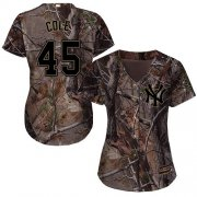 Wholesale Cheap Yankees #45 Gerrit Cole Camo Realtree Collection Cool Base Women's Stitched MLB Jersey