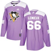 Wholesale Cheap Adidas Penguins #66 Mario Lemieux Purple Authentic Fights Cancer Stitched Youth NHL Jersey