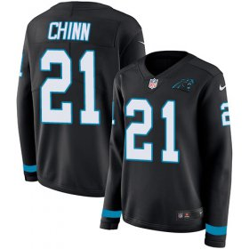 Wholesale Cheap Nike Panthers #21 Jeremy Chinn Black Team Color Women\'s Stitched NFL Limited Therma Long Sleeve Jersey