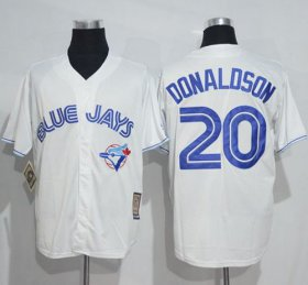 Wholesale Cheap Blue Jays #20 Josh Donaldson White Cooperstown Throwback Stitched MLB Jersey