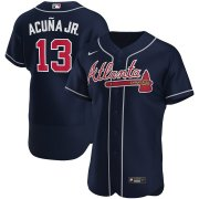 Wholesale Cheap Atlanta Braves #13 Ronald Acuna Jr. Men's Nike Navy Alternate 2020 Authentic Player MLB Jersey