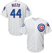 Wholesale Cheap Cubs #44 Anthony Rizzo White Strip New Cool Base with 100 Years at Wrigley Field Commemorative Patch Stitched MLB Jersey