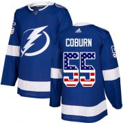 Cheap Adidas Lightning #55 Braydon Coburn Blue Home Authentic USA Flag Stitched Youth NHL Jersey