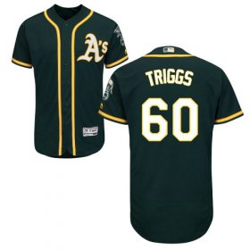 Wholesale Cheap Athletics #60 Andrew Triggs Green Flexbase Authentic Collection Stitched MLB Jersey