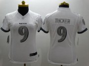 Wholesale Cheap Nike Ravens #9 Justin Tucker White Women's Stitched NFL Limited Platinum Jersey