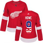 Wholesale Cheap Adidas Red Wings #9 Gordie Howe Red Home Authentic USA Flag Women's Stitched NHL Jersey