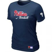 Wholesale Cheap Women's Philadelphia Phillies Nike Short Sleeve Practice MLB T-Shirt Midnight Blue