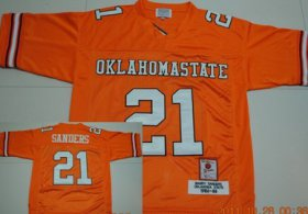 Wholesale Cheap Oklahoma State Cowboys #21 Barry Sanders Orange Throwback Jersey