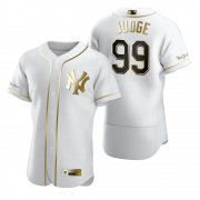 Wholesale Cheap New York Yankees #99 Aaron Judge White Nike Men's Authentic Golden Edition MLB Jersey