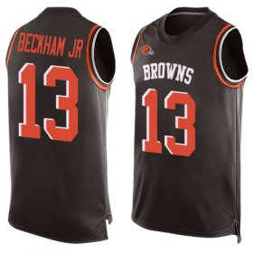 Wholesale Cheap Nike Browns #13 Odell Beckham Jr Brown Team Color Men\'s Stitched NFL Limited Tank Top Jersey