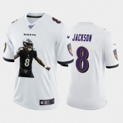 Cheap Baltimore Ravens #8 Lamar Jackson Nike Team Hero 6 Vapor Limited NFL 100 Jersey White