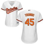 Wholesale Cheap Orioles #45 Mark Trumbo White Home Women's Stitched MLB Jersey