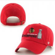 Wholesale Cheap NHL Chicago Blackhawks 47 Brand Red 2015 Stanley Cup Champions Clean-Up Adjustable Hat