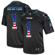 Wholesale Cheap Nike Panthers #1 Cam Newton Black Men's Stitched NFL Elite USA Flag Fashion Jersey