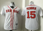 Wholesale Cheap Red Sox #15 Dustin Pedroia White Cool Base Stitched Youth MLB Jersey