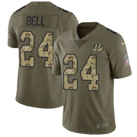 Wholesale Cheap Nike Bengals #24 Vonn Bell Olive/Camo Youth Stitched NFL Limited 2017 Salute To Service Jersey