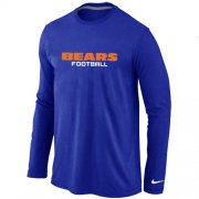 Wholesale Cheap Nike Chicago Bears Authentic Font Long Sleeve T-Shirt Blue