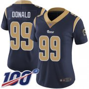 Wholesale Cheap Nike Rams #99 Aaron Donald Navy Blue Team Color Women's Stitched NFL 100th Season Vapor Limited Jersey