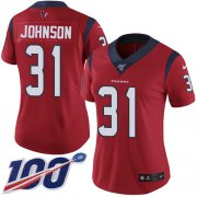 Wholesale Cheap Nike Texans #31 David Johnson Red Alternate Women's Stitched NFL 100th Season Vapor Untouchable Limited Jersey