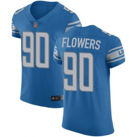 Wholesale Cheap Nike Lions #90 Trey Flowers Blue Team Color Men\'s Stitched NFL Vapor Untouchable Elite Jersey