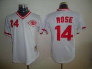 Wholesale Cheap Mitchell and Ness Reds #14 Pete Rose Stitched White Throwback MLB Jersey