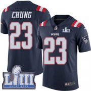 Wholesale Cheap Nike Patriots #23 Patrick Chung Navy Blue Super Bowl LIII Bound Youth Stitched NFL Limited Rush Jersey