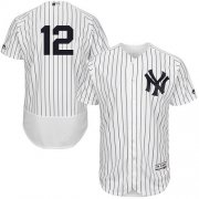 Wholesale Cheap Yankees #12 Wade Boggs White Strip Flexbase Authentic Collection Stitched MLB Jersey