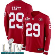 Wholesale Cheap Nike 49ers #29 Jaquiski Tartt Red Super Bowl LIV 2020 Team Color Men's Stitched NFL Limited Therma Long Sleeve Jersey