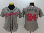 Wholesale Cheap Tigers #24 Miguel Cabrera Grey Mother's Day Cool Base Women's Stitched MLB Jersey