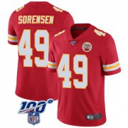 Wholesale Cheap Men's Kansas City Chiefs #49 Daniel Sorensen 100th Vapor Jersey - Limited Red
