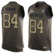 Wholesale Cheap Nike Broncos #84 Shannon Sharpe Green Men's Stitched NFL Limited Salute To Service Tank Top Jersey