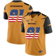 Wholesale Cheap Missouri Tigers 81 Albert Okwuegbunam Gold USA Flag Nike College Football Jersey