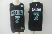 Wholesale Cheap Nike Boston Celtics 7 Jaylen Brown Black NBA Swingman Jersey
