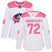 Wholesale Cheap Adidas Blue Jackets #72 Sergei Bobrovsky White/Pink Authentic Fashion Women's Stitched NHL Jersey