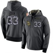 Wholesale Cheap NFL Men's Nike Minnesota Vikings #33 Dalvin Cook Stitched Black Anthracite Salute to Service Player Performance Hoodie